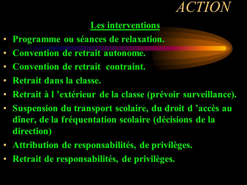 ACTION Les interventions Programme ou séances de relaxation.
