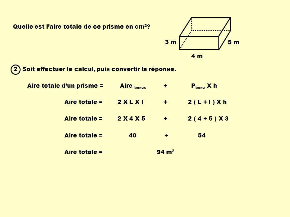 Quelle est l'aire totale de ce prisme en cm2