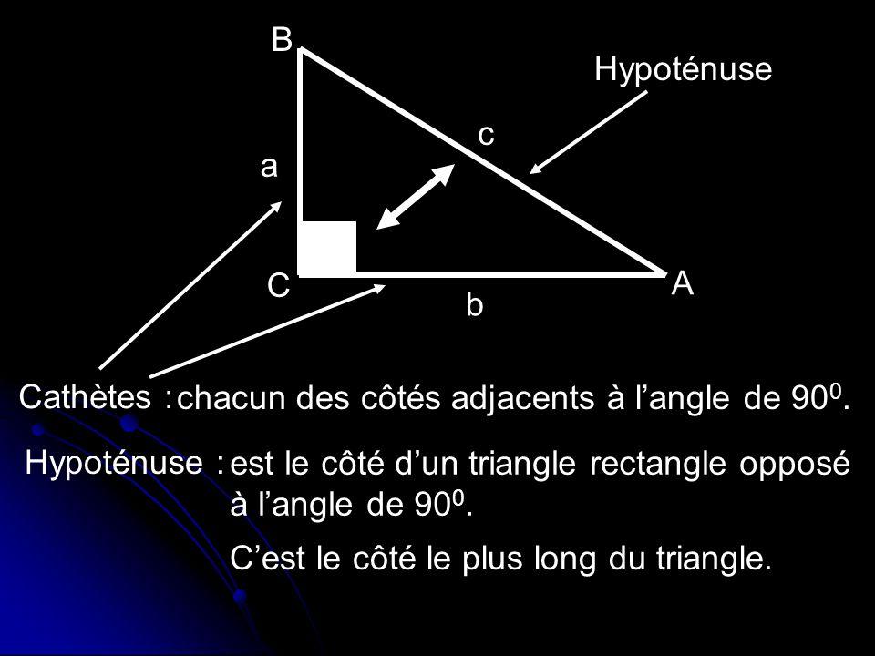 B Hypoténuse. c. a. C. A. b. Cathètes : chacun des côtés adjacents à l'angle de 900. Hypoténuse :
