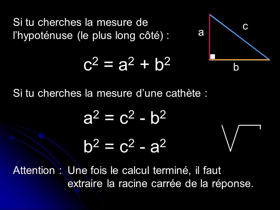 Si tu cherches la mesure de l'hypoténuse (le plus long côté) :