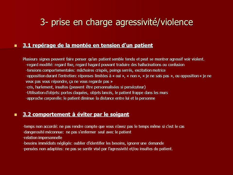 3- prise en charge agressivité/violence