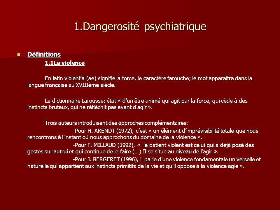 1.Dangerosité psychiatrique