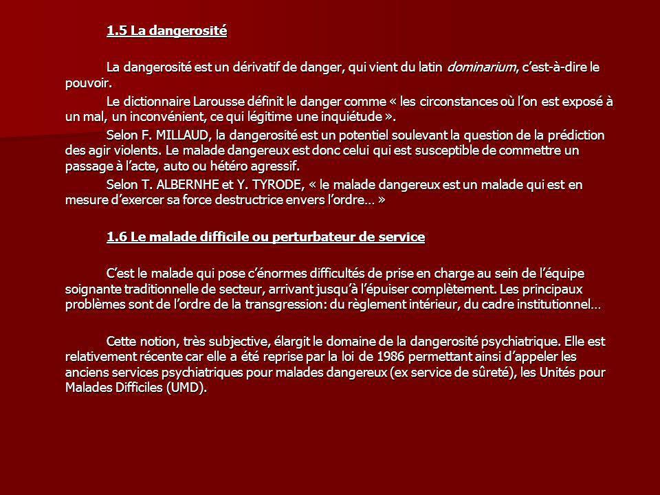 1.5 La dangerositéLa dangerosité est un dérivatif de danger, qui vient du latin dominarium, c'est-à-dire le pouvoir.