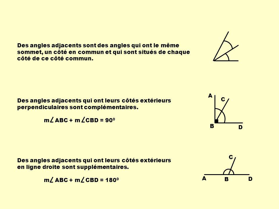 Des angles adjacents sont des angles qui ont le même sommet, un côté en commun et qui sont situés de chaque côté de ce côté commun.