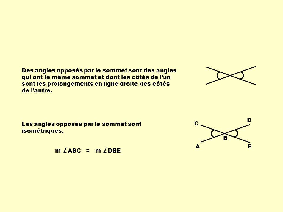 Des angles opposés par le sommet sont des angles qui ont le même sommet et dont les côtés de l'un sont les prolongements en ligne droite des côtés de l'autre.
