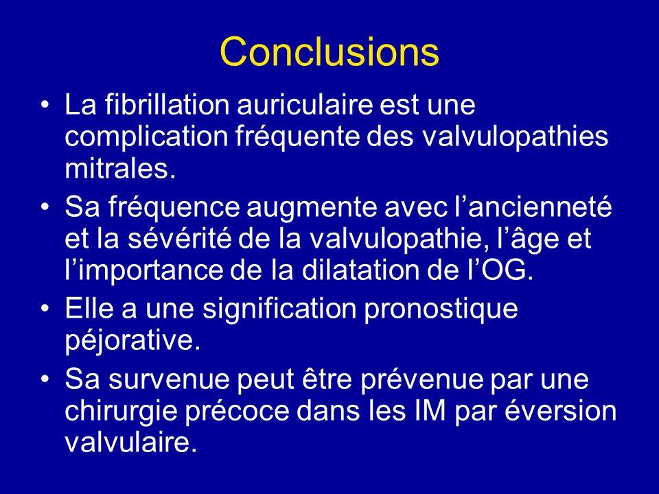 Conclusions La fibrillation auriculaire est une complication fréquente des valvulopathies mitrales.