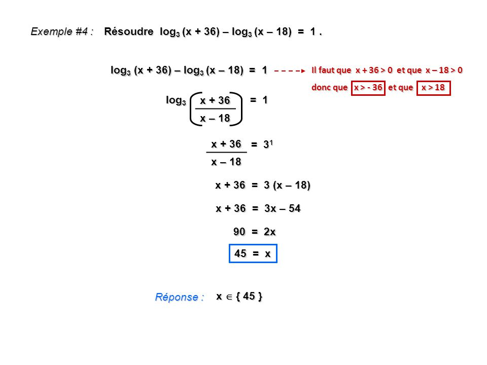 Résoudre log3 (x + 36) – log3 (x – 18) = 1 .