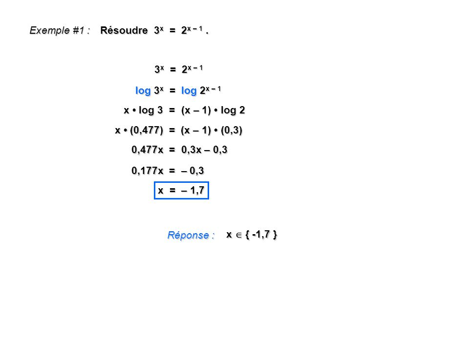 Exemple #1 : Résoudre 3x = 2x – 1 . 3x = 2x – 1. log 3x = log 2x – 1. x • log 3 = (x – 1) • log 2.