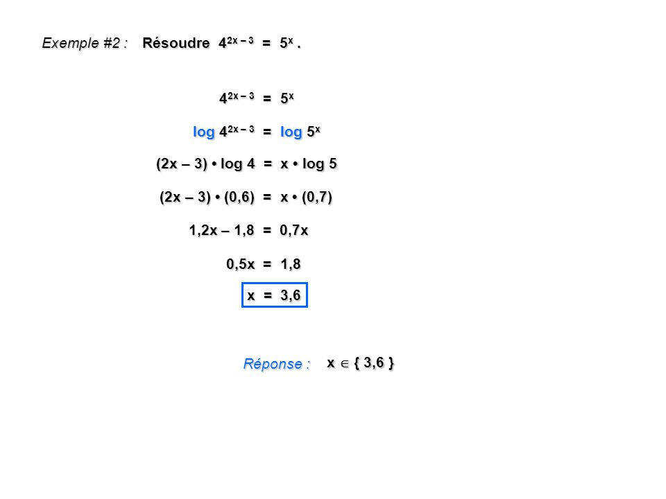 Exemple #2 : Résoudre 42x – 3 = 5x . 42x – 3 = 5x. log 42x – 3 = log 5x. (2x – 3) • log 4 = x • log 5.
