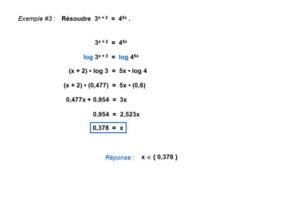 Exemple #3 : Résoudre 3x + 2 = 45x . 3x + 2 = 45x. log 3x + 2 = log 45x. (x + 2) • log 3 = 5x • log 4.