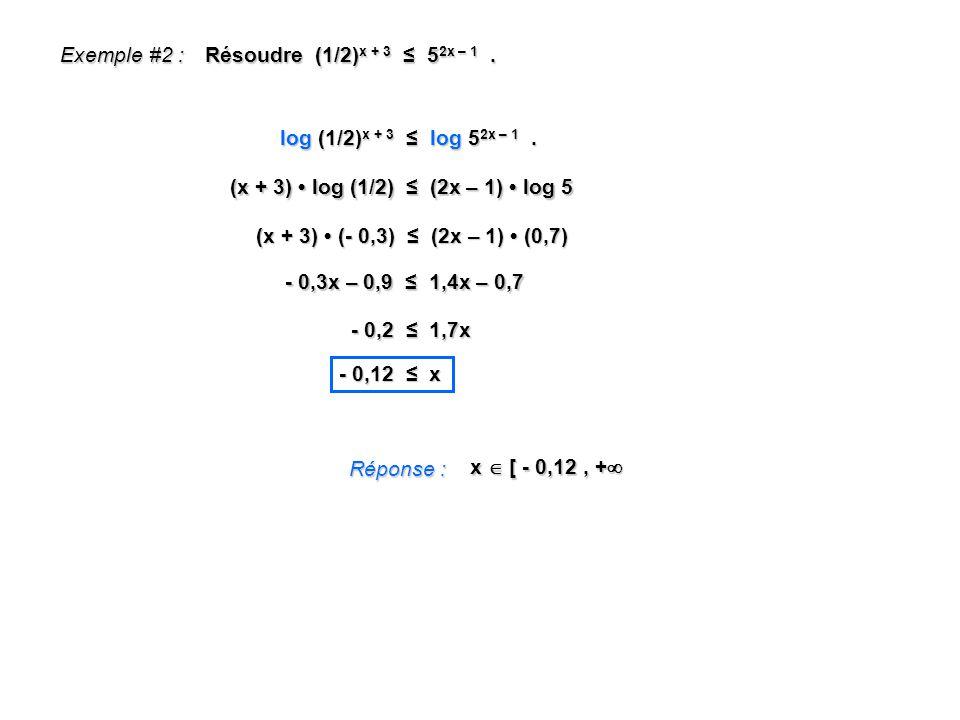 Exemple #2 : Résoudre (1/2)x + 3 ≤ 52x – 1 . log (1/2)x + 3 ≤ log 52x – 1 . (x + 3) • log (1/2) ≤ (2x – 1) • log 5.