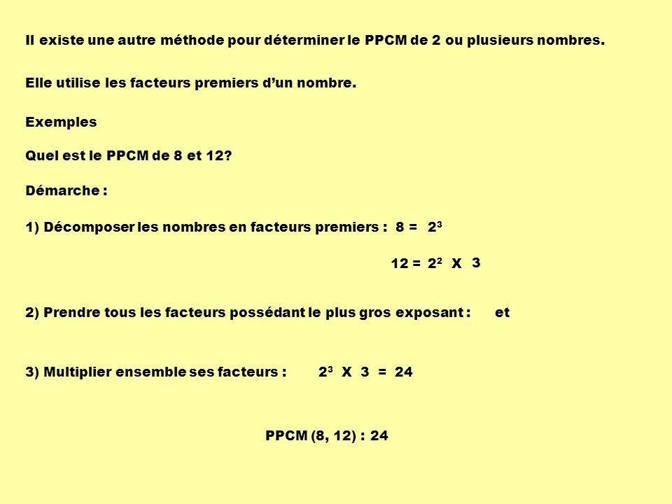 Il existe une autre méthode pour déterminer le PPCM de 2 ou plusieurs nombres.