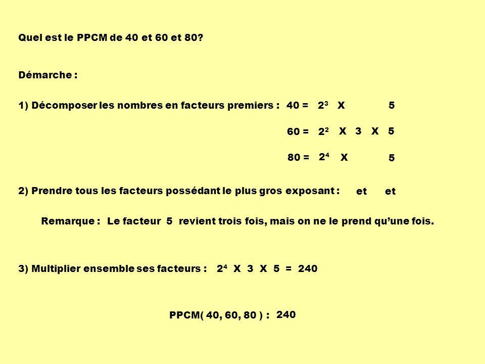 Quel est le PPCM de 40 et 60 et 80 Démarche : 1) Décomposer les nombres en facteurs premiers : 40 = 23 X 5.