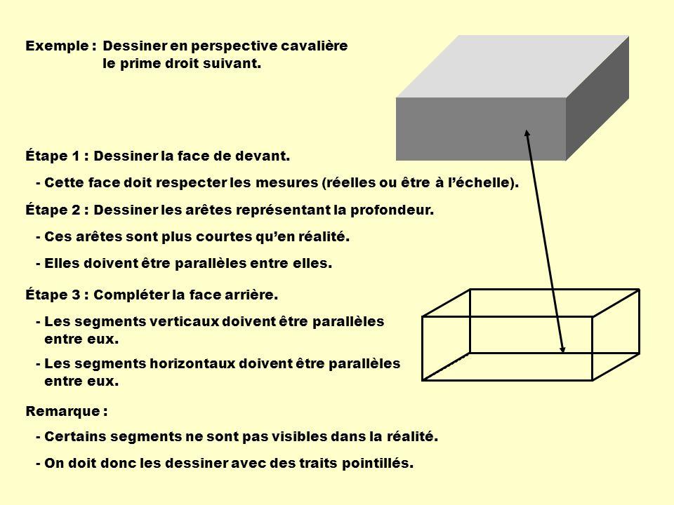 Exemple : Dessiner en perspective cavalière. le prime droit suivant. Étape 1 : Dessiner la face de devant.