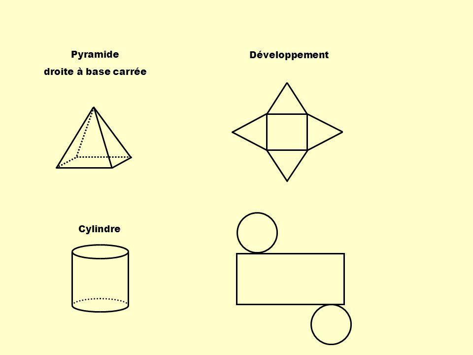 Pyramide droite à base carrée Développement Cylindre