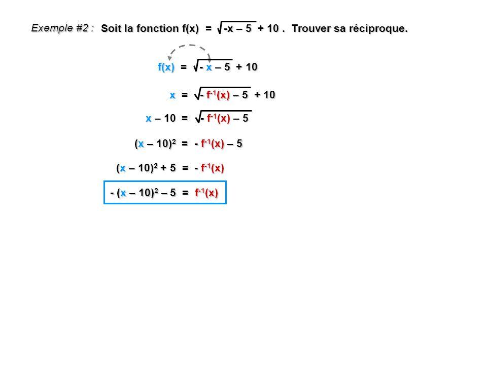Exemple #2 : Soit la fonction f(x) = -x – 5 + 10 . Trouver sa réciproque. f(x) = - x – 5 + 10.