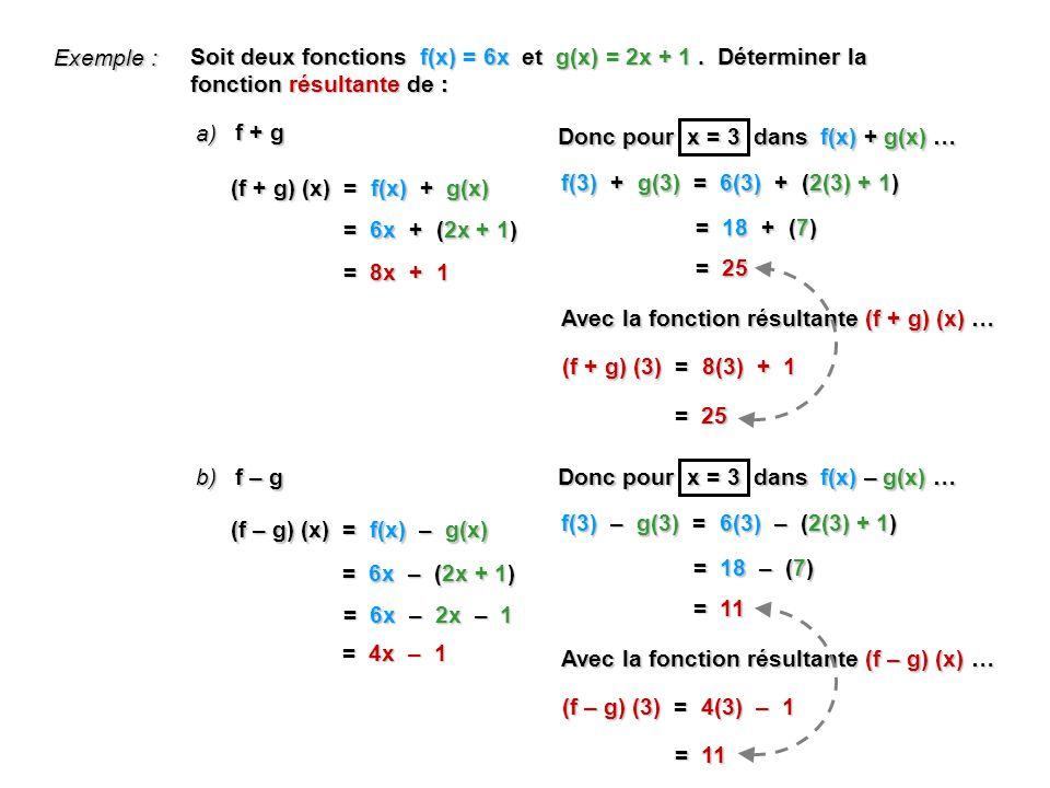 Exemple : Soit deux fonctions f(x) = 6x et g(x) = 2x + 1 . Déterminer la fonction résultante de :