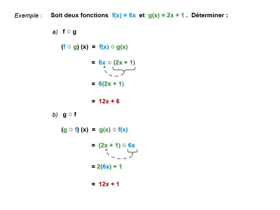 Exemple : Soit deux fonctions f(x) = 6x et g(x) = 2x + 1 . Déterminer : a) f ○ g. (f ○ g) (x) = f(x) ○ g(x)