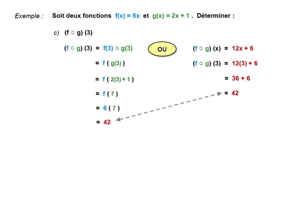 Exemple : Soit deux fonctions f(x) = 6x et g(x) = 2x + 1 . Déterminer : c) (f ○ g) (3) (f ○ g) (3) = f(3) ○ g(3)