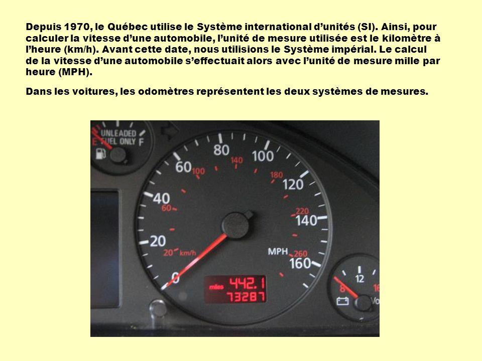 Depuis 1970, le Québec utilise le Système international d'unités (SI)