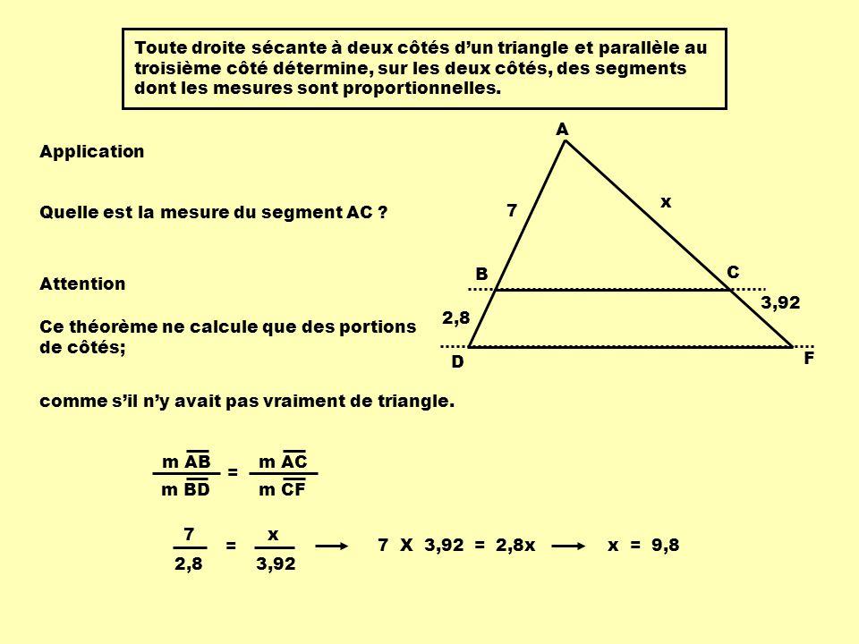 Toute droite sécante à deux côtés d'un triangle et parallèle au troisième côté détermine, sur les deux côtés, des segments dont les mesures sont proportionnelles.