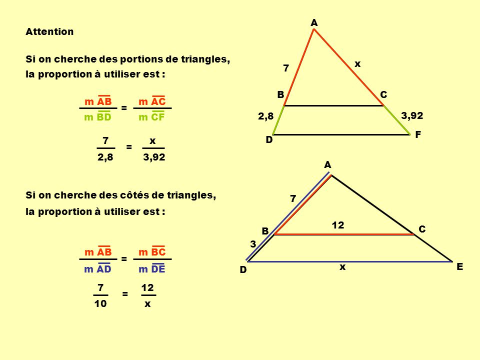 A Attention. Si on cherche des portions de triangles, x. 7. la proportion à utiliser est : B. C.