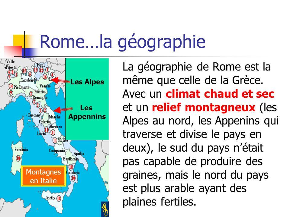 Rome…la géographie Les Alpes. Les. Appennins.