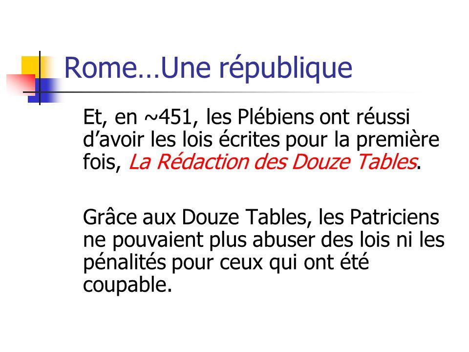 Rome…Une républiqueEt, en ~451, les Plébiens ont réussi d'avoir les lois écrites pour la première fois, La Rédaction des Douze Tables.
