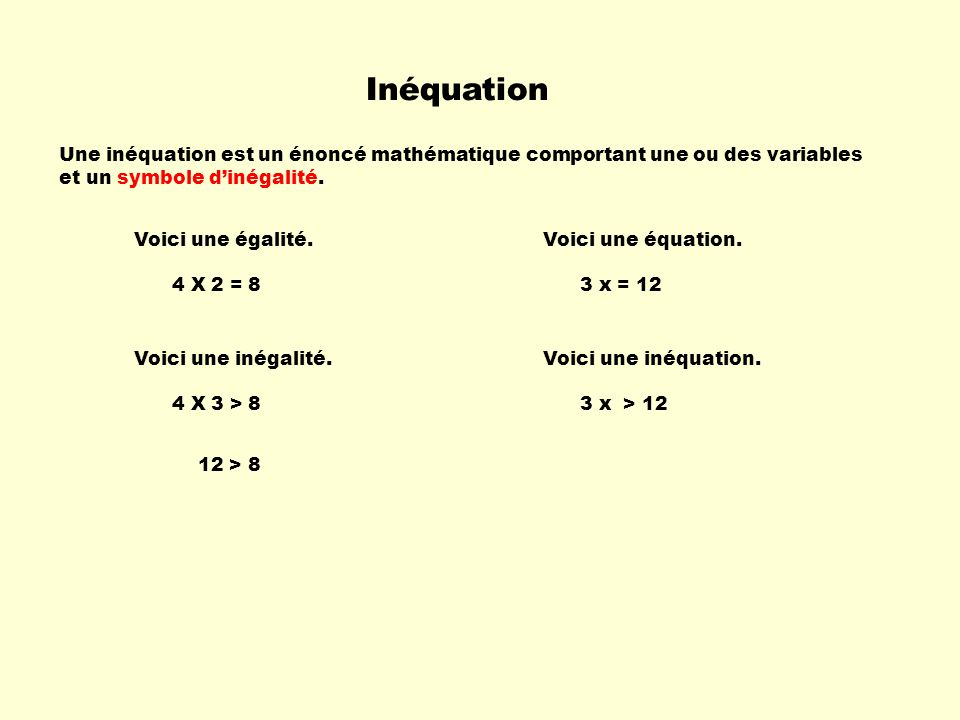 Inéquation Une inéquation est un énoncé mathématique comportant une ou des variables. et un symbole d'inégalité.