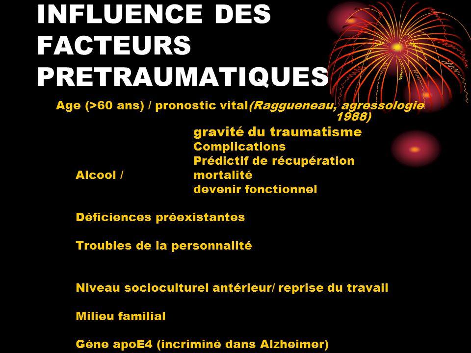 INFLUENCE DES FACTEURS PRETRAUMATIQUES