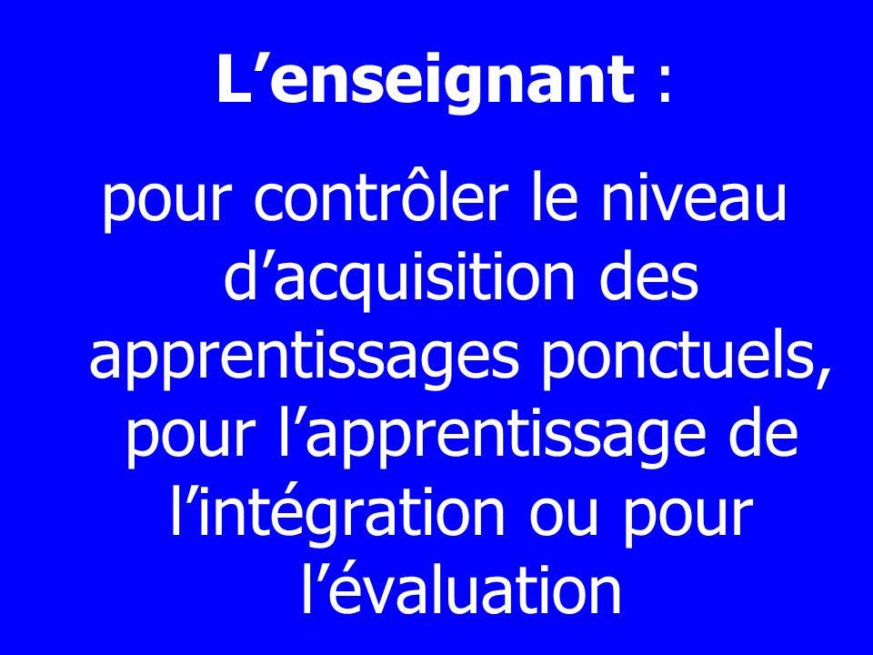 L'enseignant : pour contrôler le niveau d'acquisition des apprentissages ponctuels, pour l'apprentissage de l'intégration ou pour l'évaluation.