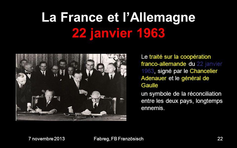 La France et l'Allemagne 22 janvier 1963