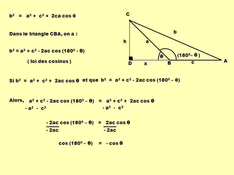 θ D h C B A b a c x (1800– ) b2 = a2 + c2 + 2ca cos θ