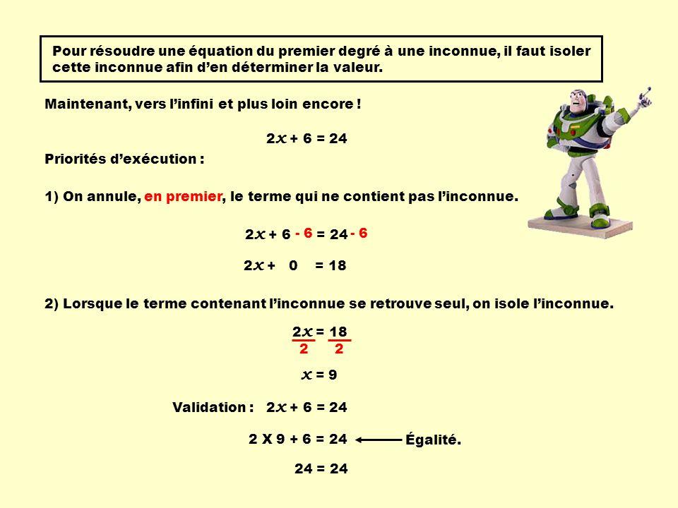 Pour résoudre une équation du premier degré à une inconnue, il faut isoler cette inconnue afin d'en déterminer la valeur.