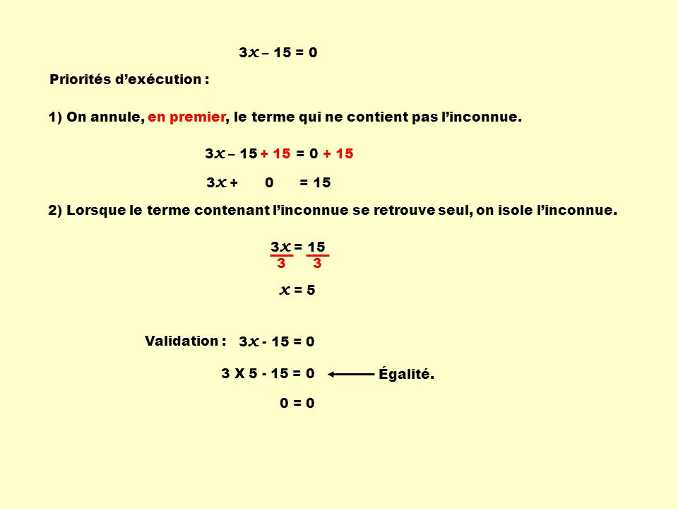 x = 5 3x – 15 = 0 Priorités d'exécution :