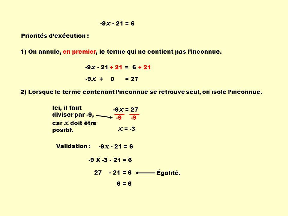 x = -3 -9x - 21 = 6 Priorités d'exécution :