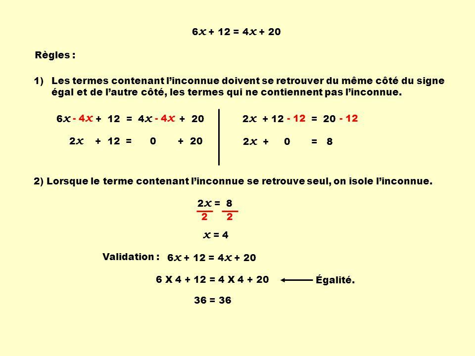 6x + 12 = 4x + 20 Règles : Les termes contenant l'inconnue doivent se retrouver du même côté du signe égal.