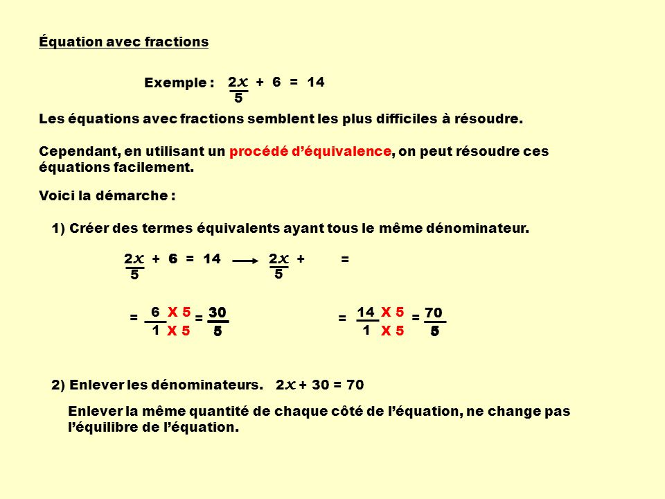 Équation avec fractions