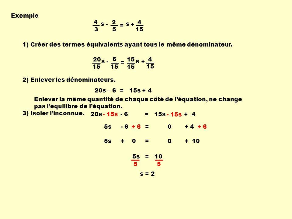 Exemple 4. 3. s. - 2. 5. = + 15. 1) Créer des termes équivalents ayant tous le même dénominateur.