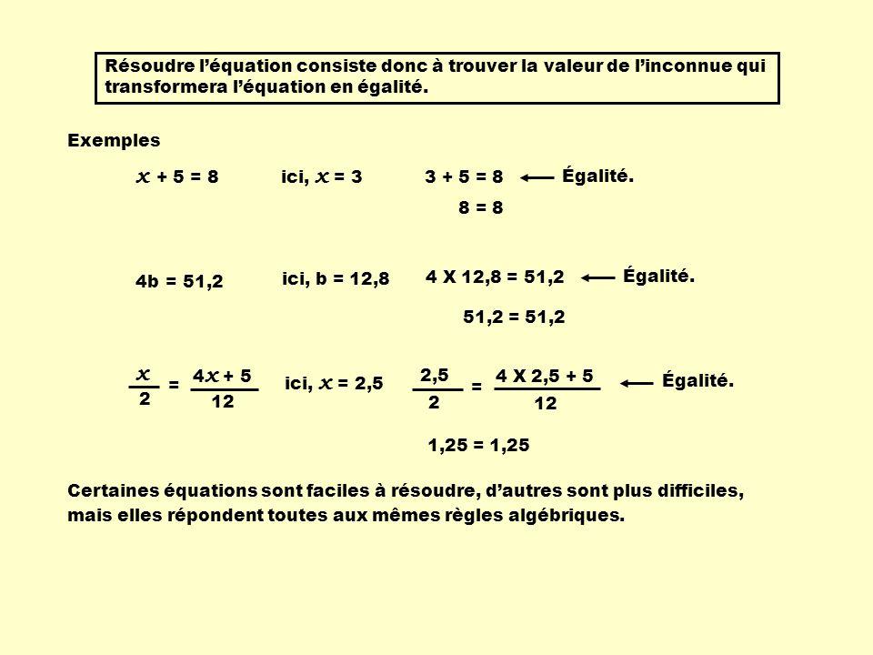 Résoudre l'équation consiste donc à trouver la valeur de l'inconnue qui transformera l'équation en égalité.