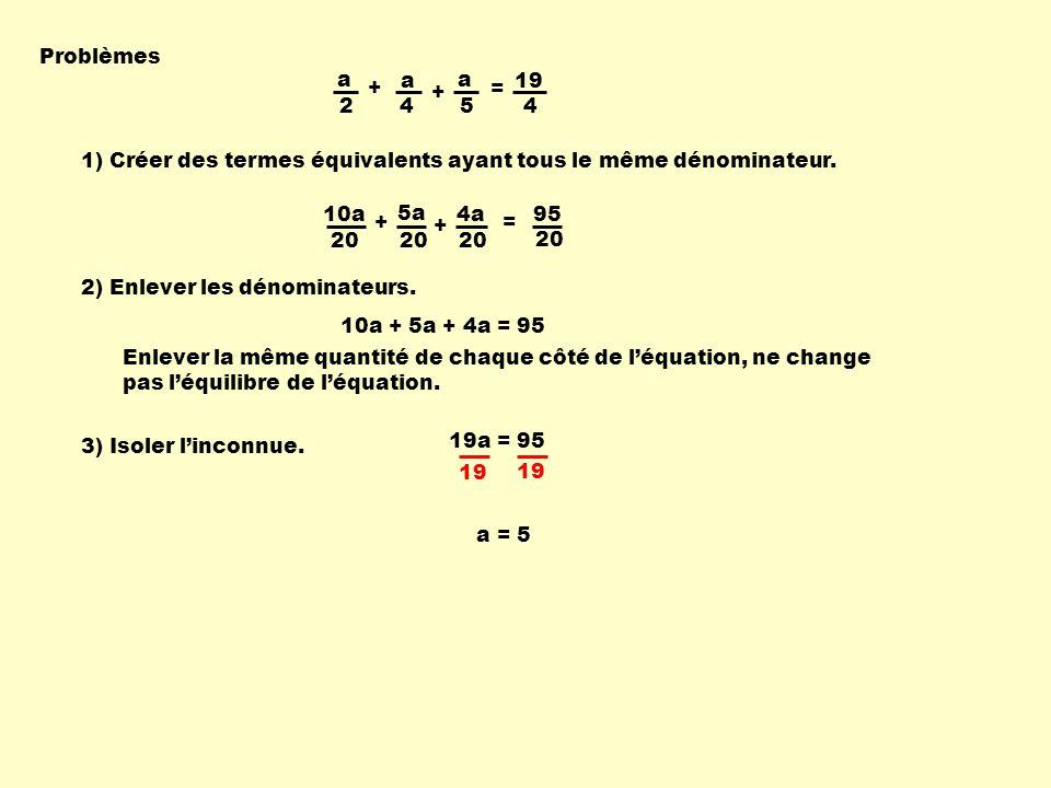 Problèmes a. 2. + 4. = 19. 5. 1) Créer des termes équivalents ayant tous le même dénominateur.