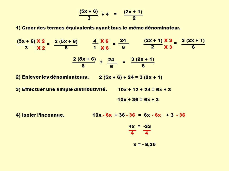 (5x + 6) (2x + 1) + 4. = 3. 2. 1) Créer des termes équivalents ayant tous le même dénominateur.