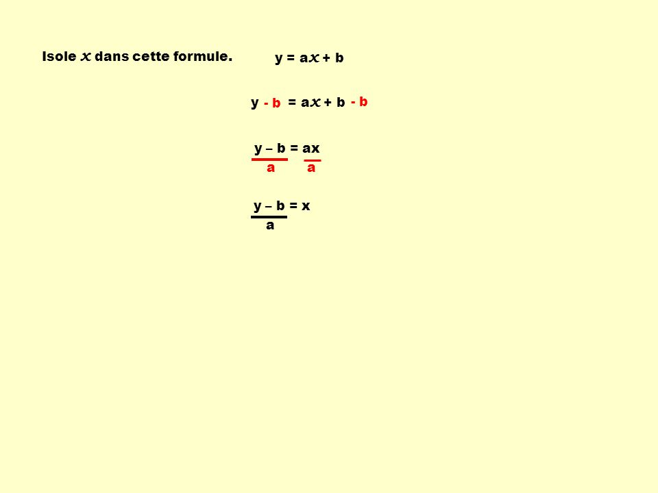 Isole x dans cette formule.