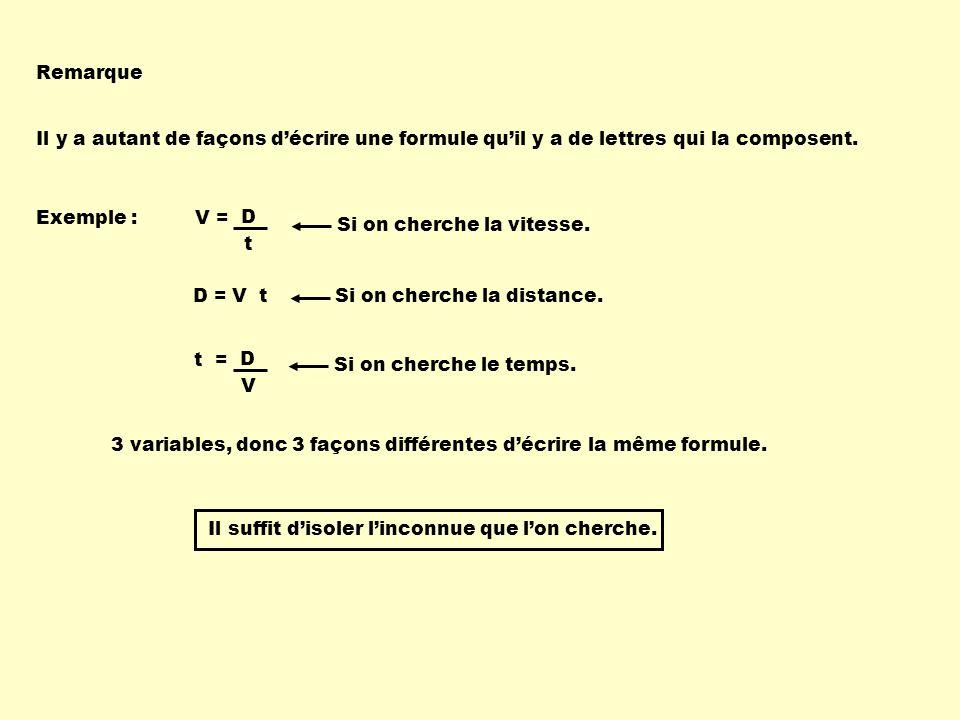 Remarque Il y a autant de façons d'écrire une formule qu'il y a de lettres qui la composent. Exemple :