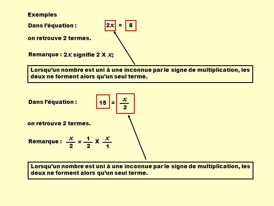 x x x Exemples 2x = 8 Dans l'équation : on retrouve 2 termes.