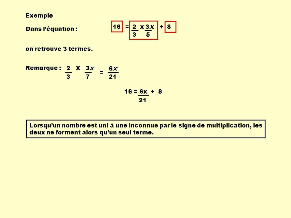 Exemple 16 = 2 x 3x + 8. 3. 5. Dans l'équation : on retrouve 3 termes. Remarque : 2 X 3x.