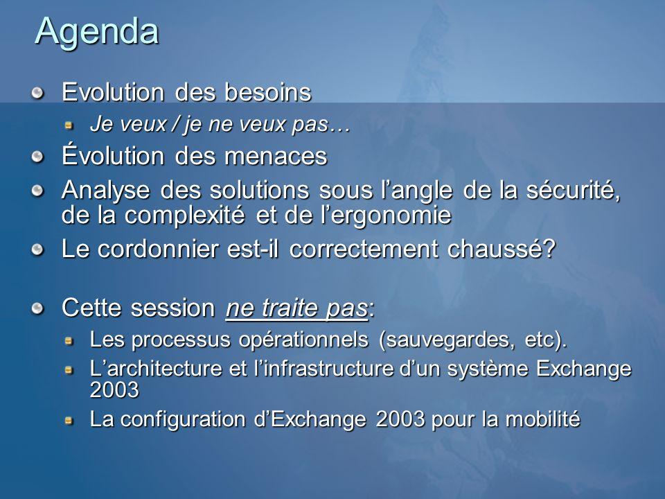 Agenda Evolution des besoins Évolution des menaces