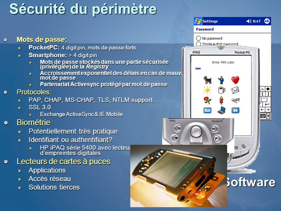 Sécurité du périmètre Pointsec Software Biométrie