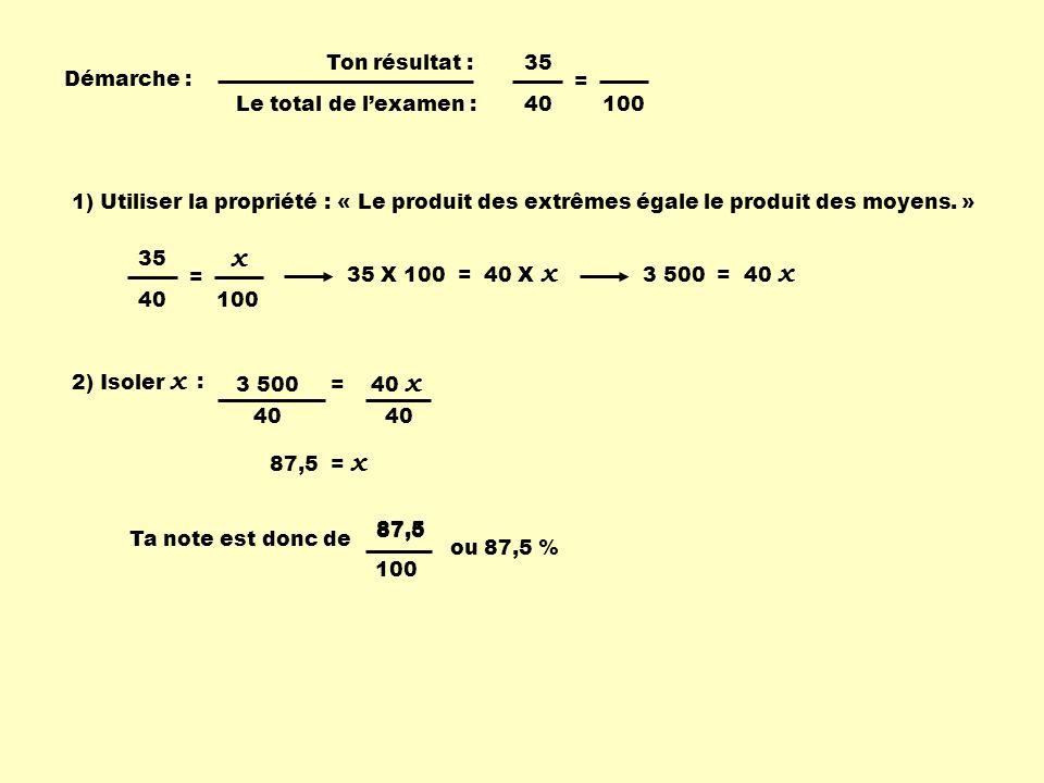 x x Ton résultat : 35 Démarche : = Le total de l'examen : 40 100