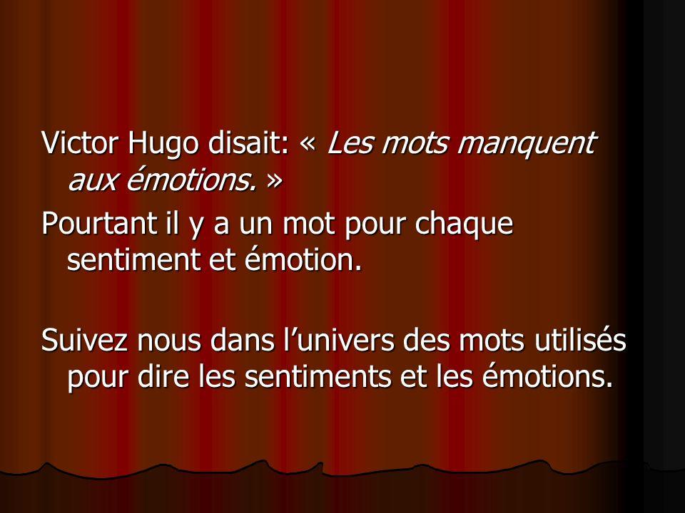 Victor Hugo disait: « Les mots manquent aux émotions. »